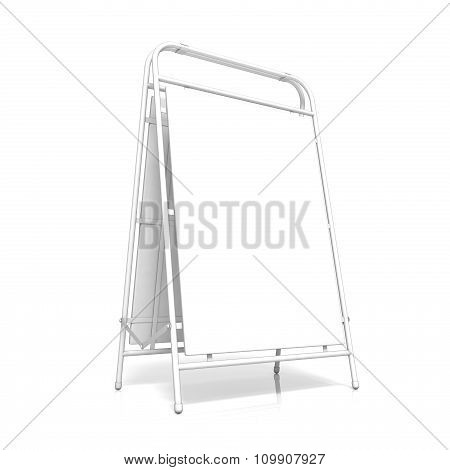 White advertising stand with copy space board. Side view. 3D
