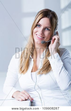 Young Woman And Headset