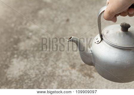 Old Rustic Aluminum Kettle