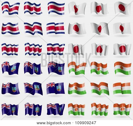 Costa Rica, Japan, Montserrat, Niger. Set Of 36 Flags Of The Countries Of The World.