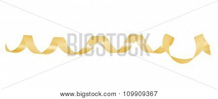 Gold Paper Ribbon On  Isolated Background