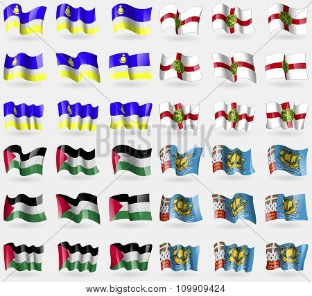Buryatia, Alderney, Palestine, Saint Pierre And Miquelon. Set Of 36 Flags Of The Countries Of The