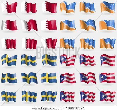 Bahrain, Tierra Del Fuego Province, Sweden, Puerto Rico. Set Of 36 Flags Of The Countries Of The