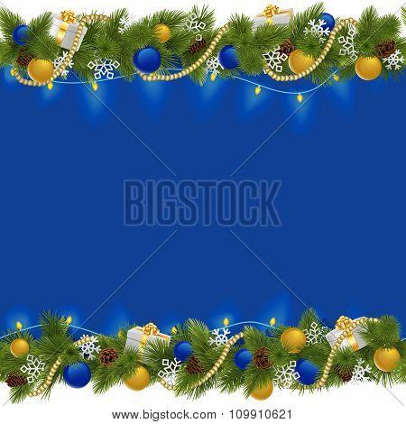 Vector Sapphirine Christmas Border With Garland