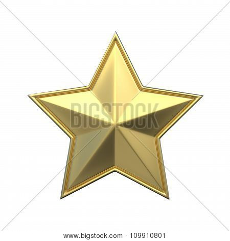 Single gold star. 3D render