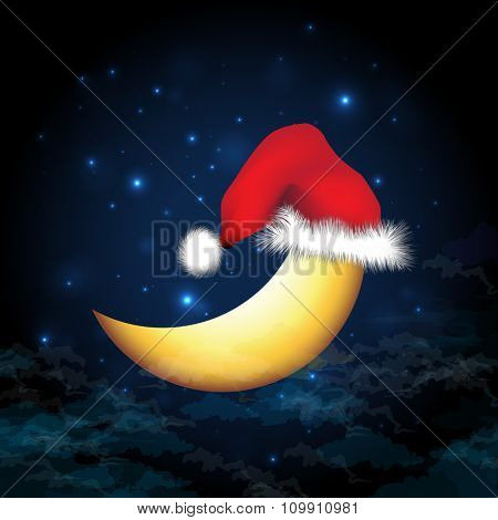 The moon wears a Santa Claus hat on Christmas eve, against a backdrop of snow clouds and stars.