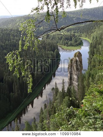 Usvinskie Poles. Rock Devil finger. Perm region. Russia.