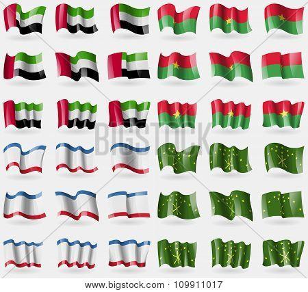 United Arab Emirates, Burkia Faso, Crimea, Adygea. Set Of 36 Flags Of The Countries Of The World.