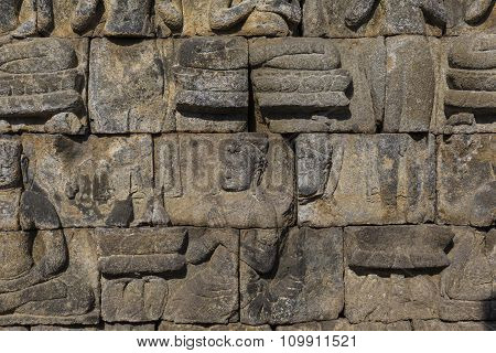 Detail From Borobudur Temple At Central Java In Indonesia