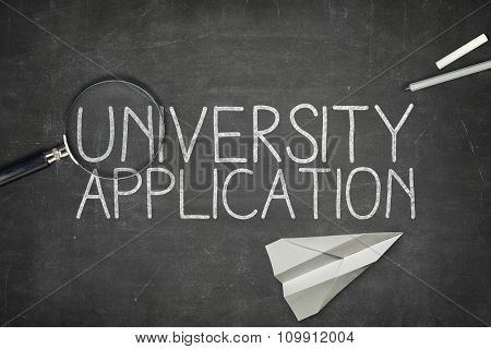 University application concept on blackboard