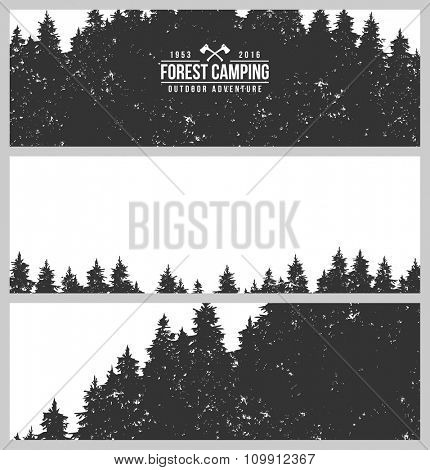 Set of three horizontal banners. Fir forest. Coniferous forest. Vintage background.