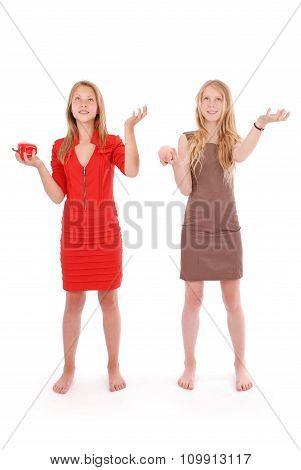 Two Girls Pretend That Juggle Fruit