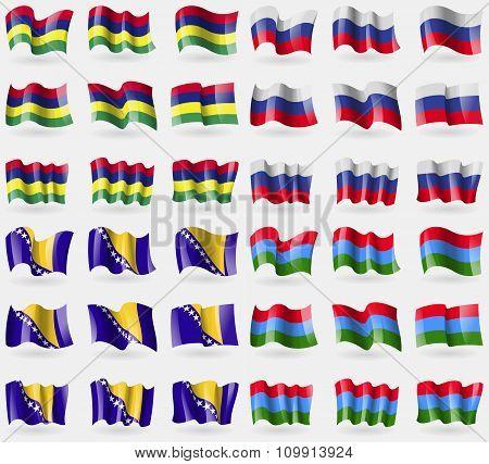 Mauritius, Russia, Bosnia And Herzegovina, Karelia. Set Of 36 Flags Of The Countries Of The World.