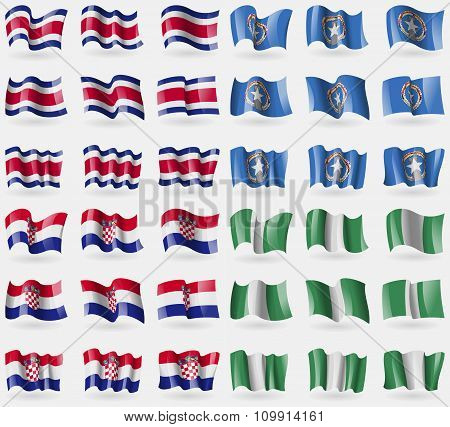 Costa Rica, Marianna Islands, Croatia, Nigeria. Set Of 36 Flags Of The Countries Of The World.