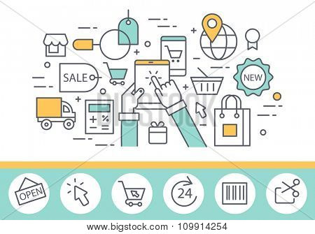 Electronic commerce and internet shopping concept illustration, thin line style, flat design