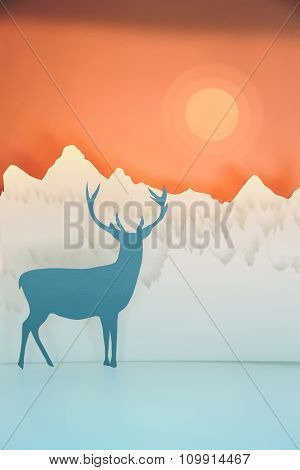Holiday Handmade Paper Cut Deer Forest Sunset