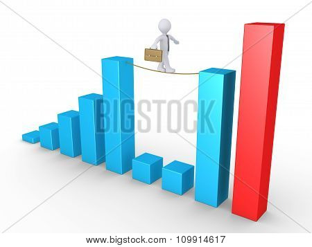 Businessman Balancing On Columns