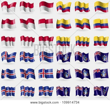 Indonesia, Colombia, Iceland, Tristan Da Cunha. Set Of 36 Flags Of The Countries Of The World.