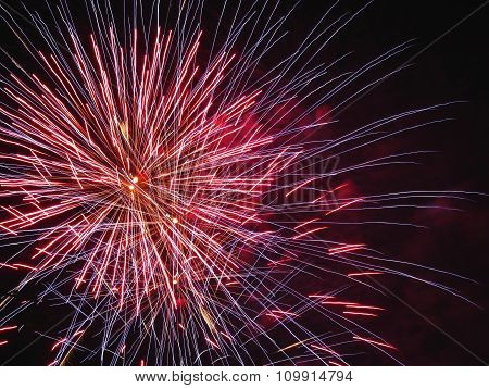 Colorful Fireworks Of Various Colors Light Up The Night Sky