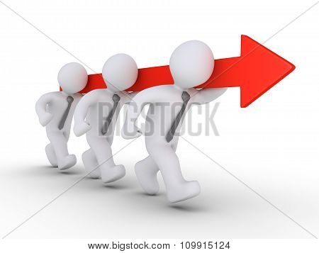 Businessmen Are Running Holding Arrow