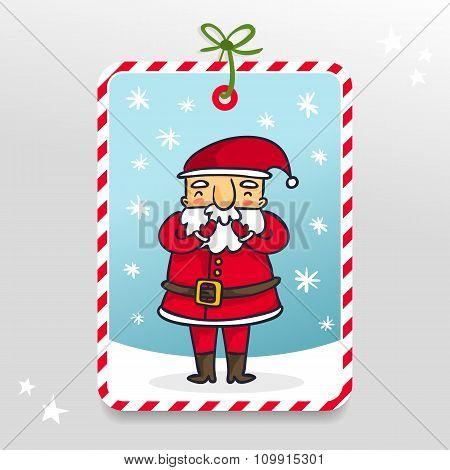 Cute Vector Santa Claus Gift Tag