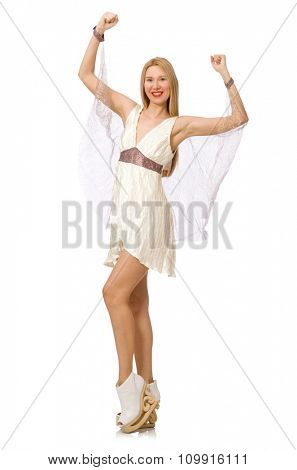 Woman wearing white dress isolated on white