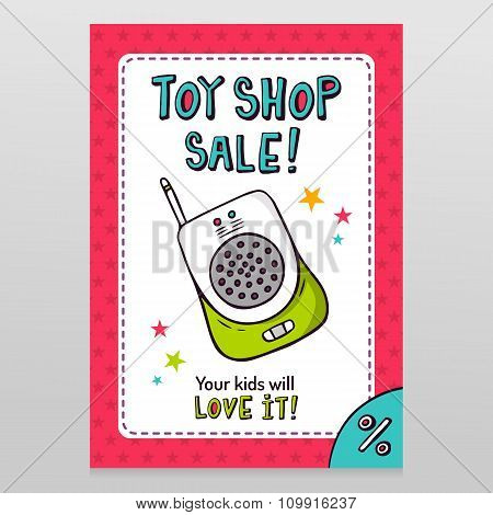 Toy Shop Vector Sale Flyer Design With Baby Monitor