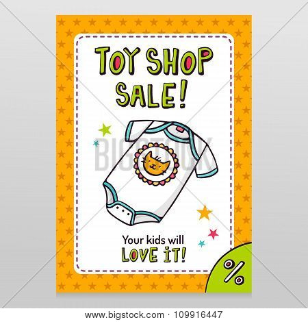 Toy Shop Vector Sale Flyer Design With Cute Baby Bodysuit