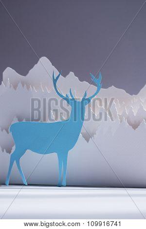 Handmade Paper Cut Deer Blue Forest Holiday Card
