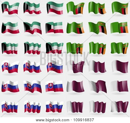 Kuwait, Zambia, Slovakia, Qatar. Set Of 36 Flags Of The Countries Of The World.