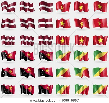Latvia, Vietnam, Papua New Guinea, Congo Republic. Set Of 36 Flags Of The Countries Of The World.