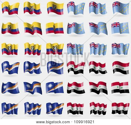 Ecuador, Tuvalu, Marshall Islands, Syria. Set Of 36 Flags Of The Countries Of The World.