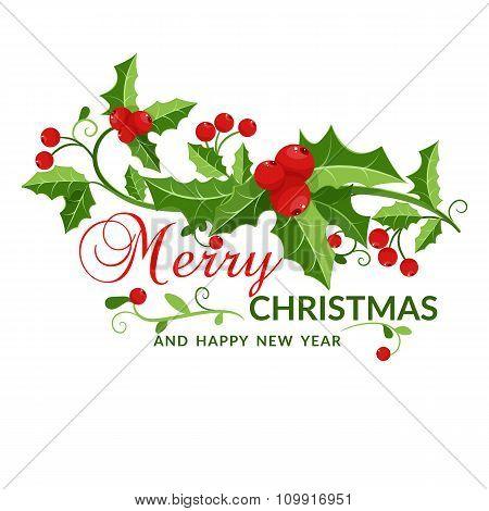 Merry Christmas Card With Mistletoe. Vector Illustration.