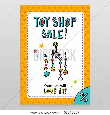 Toy Shop Vector Sale Flyer Design With Baby Crib Mobile