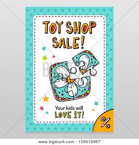 Toy Shop Vector Sale Flyer Design With Toy Puzzle For Kids