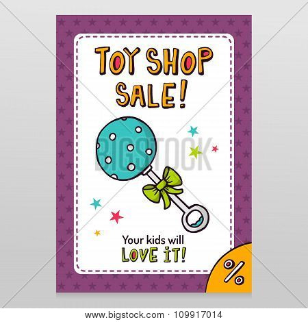 Toy Shop Vector Sale Flyer Design With Blue Dotted Rattle