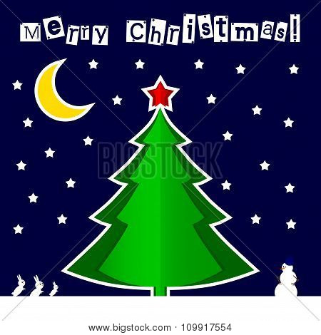 Vector paper Christmas tree Blue night background.