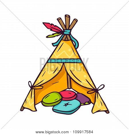 Indian Wigwam For Kids Room Isolated On White