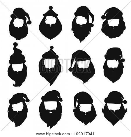Portrait Santa Claus black, white icons silhouette. Santa face icons, mustache and santa hat icon. Santa hat icon. New Year 2016 santa face.Santa head vector. Santa Christmas greeting card. Santa face
