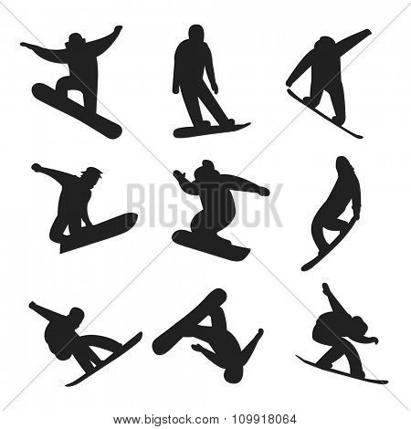 Snowboarder jumping different pose black, white icons white background. Snowboard people tricks. Snowboarder tricks. Special snowboard tricks isolated on white.Snowboard tricks vector illustration