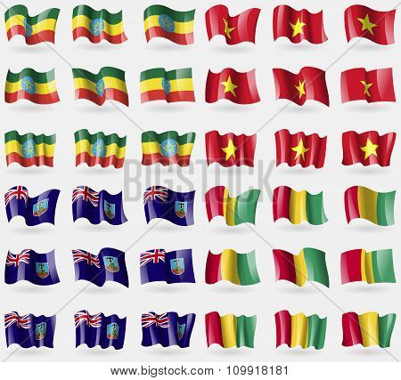 Ethiopia, Vietnam, Montserrat, Guinea. Set Of 36 Flags Of The Countries Of The World.