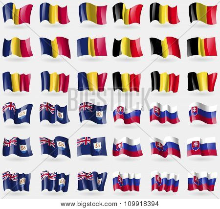 Chad, Belgium, Anguilla, Slovakia. Set Of 36 Flags Of The Countries Of The World.