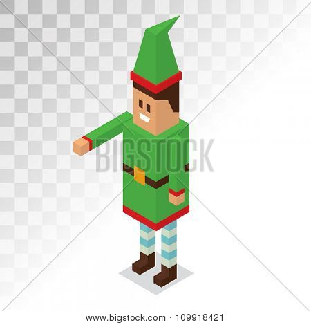 Santa Claus boy helper cartoon elf vector 3d isometric pixel art illustration. Santa Claus elf helper kid isolated. Santa helpers traditional costume. Santa family elfs isolated on white. Santa Claus