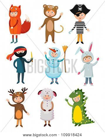 Kids different costumes isolated vector illustration. Dragon, crocodile, sheep and deer. Snowman, bear, ninja, rabbit and fox, pirate. Kids costume vector isolated. Children party costume collection