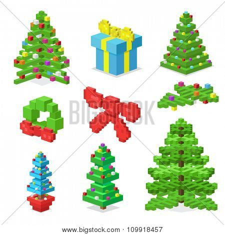 Christmas deoration symbold 3d isometric flat icons set. Christmas tree 3d icons vector. New Year icons isolated. Christmas decor vector illustration. New Year icons silhouette. Christmas decoration
