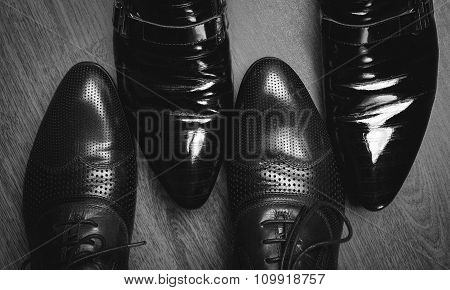 Male Shoes In Blackly White
