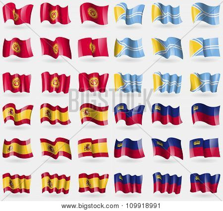 Kyrgyzstan, Tuva, Spain, Liechtenstein. Set Of 36 Flags Of The Countries Of The World.