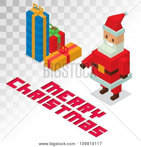 Santa Claus, gift box sometric 3d icons vector illustration. Santa Claus cartoot people. Christmas 3d pixel art traditional costume Santa Claus isolated. Santa Claus greeting card icons