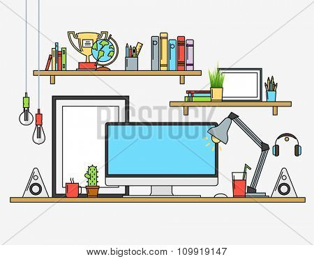 Line flat design mock up of modern workspace. Vector illustrations of posters, lamp, pencils, globe, winner cup, banners, speakers, cactus, coffee, tee, journals. Isolated pictograms and icons