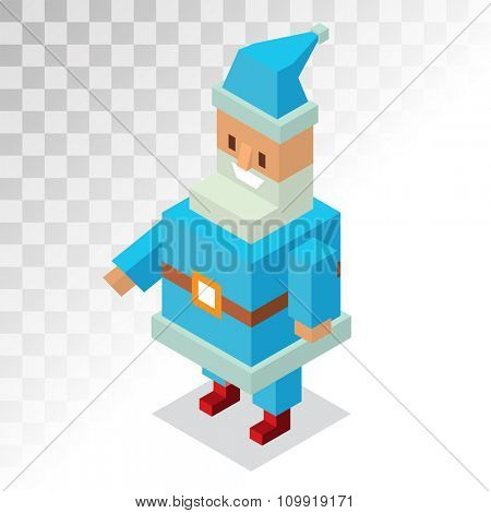 Santa Claus 3d isometric vector illustration. Santa Claus cartoon old man with red hat and sack. Santa Claus traditional costume. Santa Claus 3d isometric. Santa Claus stay, smile face. Christmas